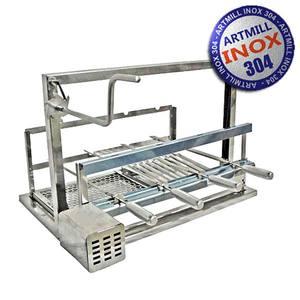 kit eleva o a o inox 304 com grill e 4 espetos 76cmx47cm. Black Bedroom Furniture Sets. Home Design Ideas