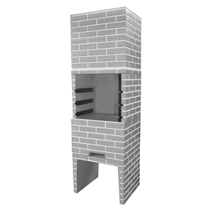 Churrasqueira Concreto Pré-Moldado Tijolinho Predial Crua Cinza 65cmx2,05m Fortal