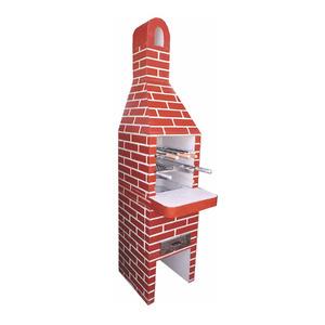 Churrasqueira de Concreto Refratário Tijolinho Mini Pintada Vermelha 45cm Fortal
