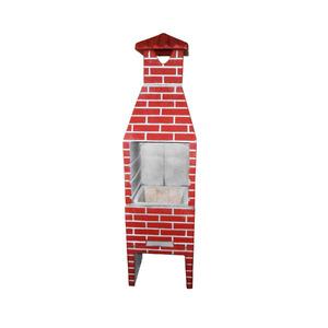 Churrasqueira de Concreto Refratário Tijolinho Pequena Pintada Vermelha 55cm Fortal