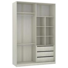 Closet com Cabideiro e Gaveteiro Legno Crema 236x159,2x54,5cm Luciane