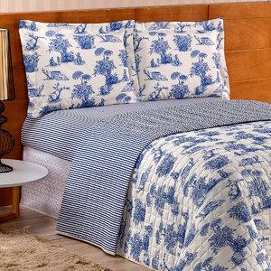 650b5d67ee630b Cobre Leito Queen Palha Estampado Azul Matelado Dupla Face 3 Peças