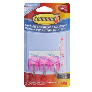 Command Utensílios Transparente Rosa