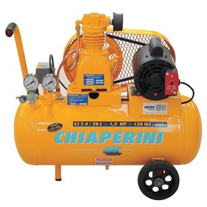 Compressor Ar CJ7.4/28L- 1,5HP Hobby 8 Bar 7,4 PCM Motor 1,5HP Monofásico 110V-120V 1616 RPM 75 Decibéis 28 L 0.200 ml