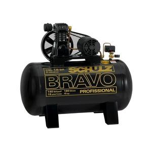 Compressor de ar Bravo Csl 18 Br/180 Rotação 1190rpm Pressão 140psi Pistão 2-L Motor 4Hp Trifásico 220V Vol Reservatório 180L Vol Óleo 520ML Schulz