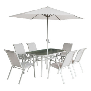 Conjunto Aço/Vidro Kangfu 1 Mesa, 6 Cadeiras e 1 Ombrelone Bege Importado