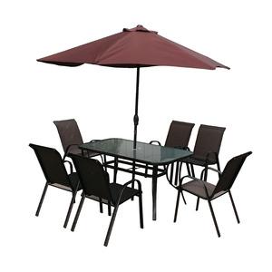 Conjunto Aço/Vidro Kangfu 1 Mesa, 6 Cadeiras e 1 Ombrelone Marrom Importado