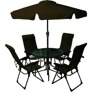 Conjunto Alumínio/Vidro Mônaco 1 Mesa, 4 Cadeiras e 1 Ombrelone Marrom Importado