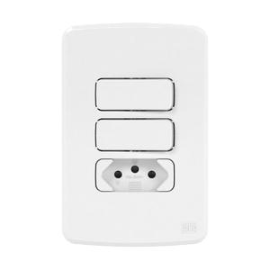 Conjunto de 2 Interruptor Simples+ Tomada 10A 4x2 Composé Branco WEG