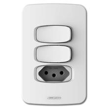 Conjunto de 2 Interruptores Simples com Tomada 10A 4X2 Branco Gracia