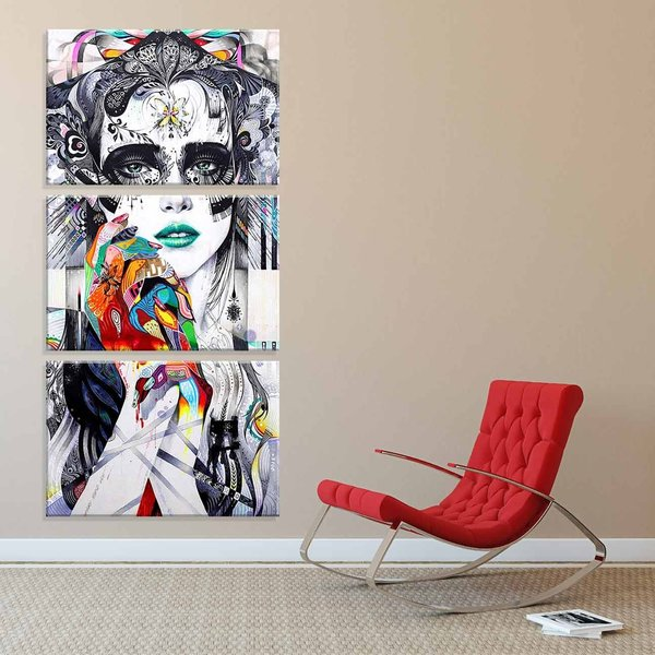 bcc7c0e76 Conjunto de 3 Telas Decorativas em Canvas Modern Art