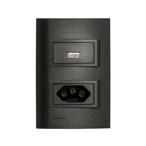 Conjunto de Carregador USB 1,5A c/ Tomada 2P+T 10A Vivace Carbono Simens