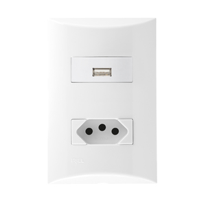 Conjunto de Carregador USB Bivolt 1,5A c/ Tomada 2p+t 10A Branco Brava Iriel