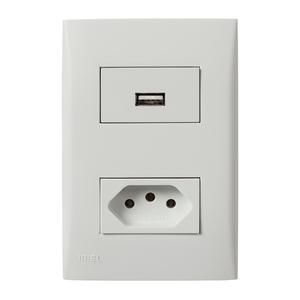Conjunto de Carregador USB Bivolt 1,5A c/ Tomada 2P+T 10A Branco Imperia Iriel
