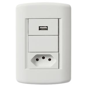 Conjunto de Carregador USB Bivolt 1,5A c/ Tomada 2P+T 10A Branco Talari Iriel