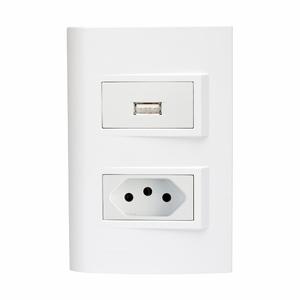 Conjunto de Carregador USB Bivolt 1,5A c/ Tomada NBR 10A Branco Delta Mondo Siemens