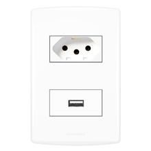 Conjunto de Carregador USB com Tomada 2P+T 10A Biancopro Alumbra