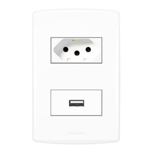 Conjunto de Carregador USB com Tomada 2P+T 10A Inovapro