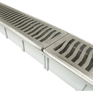 Conjunto de Grelha Caixa Coletora Alumínio Polido 17,0x96,0x12,7cm