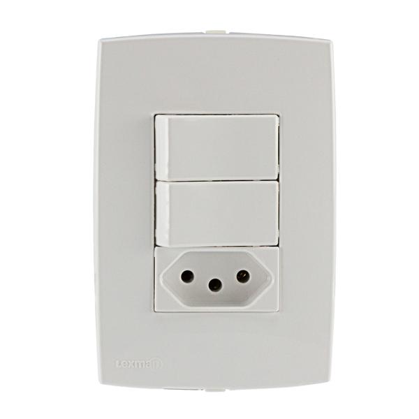 Conjunto de interruptor energia 10a branco lille lexman - Leroy merlin interruptores ...