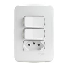 Conjunto de Interruptor Simples 10A Branco Miluz Schneider