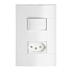 Conjunto de Interruptor Simples 20A Branco Prime Lunare Schneider