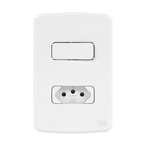 Conjunto de 1 Interruptor Simples+ Tomada 10A 4x2 Composé Branco WEG