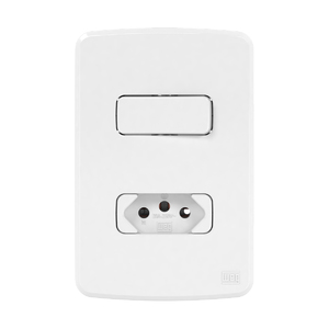Conjunto de 1 Interruptor Simples+ Tomada 20A 4x2 Composé Branco WEG