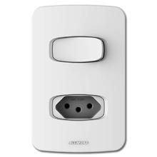 Conjunto de Interruptor Simples com Tomada 20A 4X2 Branco Gracia