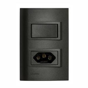 Conjunto de Interruptor Simples c/ Tomada 2P+T 10A Vivace Carbono Siemens