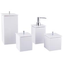 Conjunto de Potes para Banheiro - Quadrado Branco
