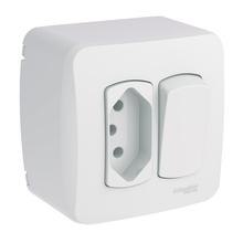 Conjunto de Sobrepor 1  Interruptor Simples 1 Tomada 10A Miluz Schneider