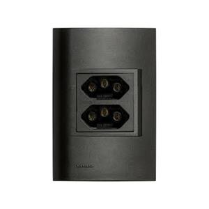 Conjunto de Tomada 2P+T Duplex 10A Vivace Carbono Simens