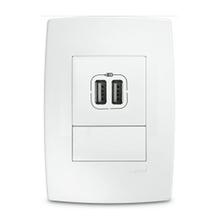 Conjunto de Tomada de Carregador USB Branco Pial Plus Pial Legrand