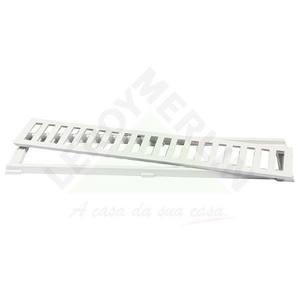 Conjunto Grelha e Porta Grelha Alumínio Branco 10X50cm LG Mais
