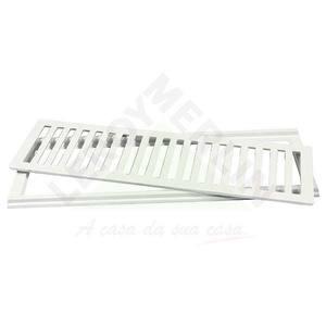 Conjunto Grelha e Porta Grelha Alumínio Branco 15X50cm LG Mais