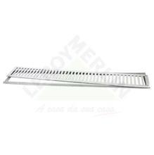 Conjunto Grelha e Porta Grelha Alumínio Escovado 15X100cm LG Mais