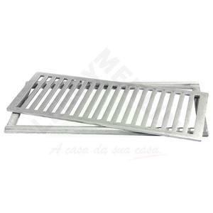 Conjunto Grelha e Porta Grelha Alumínio Escovado 20X50cm LG Mais