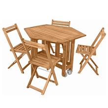 Conjunto Madeira Sextavada 1 Mesa e 4 Cadeiras Metalnew