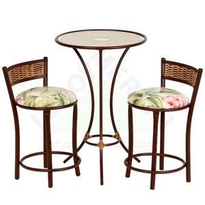 Conjunto Mesa com 2 Banquetas Ratan Flor Vermelho/Verde Shangai