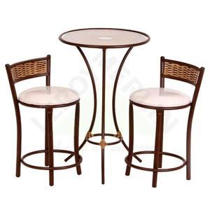 Conjunto Mesa com 2 Banquetas Ratan Liso Creme Shangai