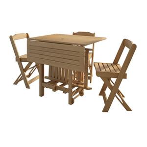 Conjunto Mesa Dobrável com 4 Cadeiras 75x94,5cm Jatobá Mão e Formão