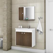 Conjunto para Banheiro Dayene 54x56,5x30cm Branco e Wengle Sensea