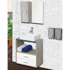 gabinete para banheiro com espelho lyon 57x50x40 barrique e branco astral design leroy merlin. Black Bedroom Furniture Sets. Home Design Ideas