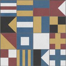 Conjunto Patchwork Nautico Azul e Branco com 10 peças 20x20cm Cimartex