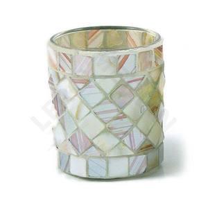 Copo Porta Velas Mosaico Médio Branco Botanic Velas