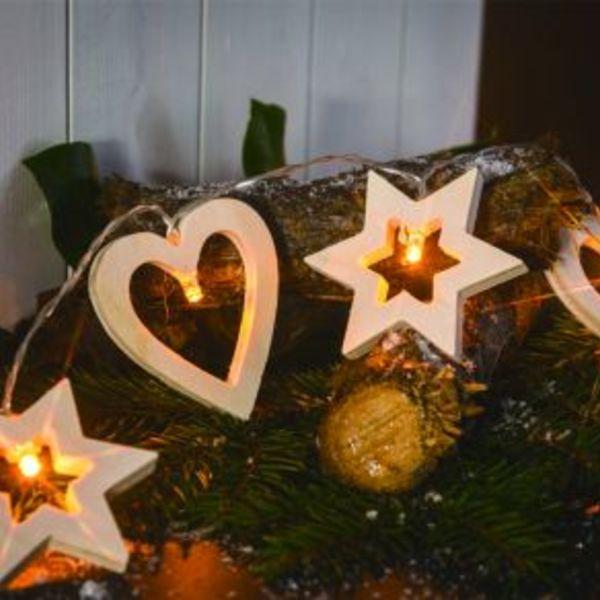 92aa897de Cordão de Luz LED Taschibra 10 LEDs Coração e Estrela Pilha