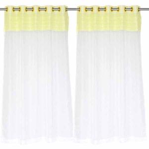 Cortina Infantil/Juvenil Bambino Branca/Amarela Vera Cruz 1,80x2,80m 2 Folhas Voil