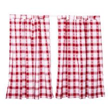 Cortina Oxford Estampado Xadrez Vermelha com 2 Folhas de 1,20x1,00m