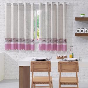Cortina para Cozinha Allegra Chá Branca e Rosa 1,40x2,00m